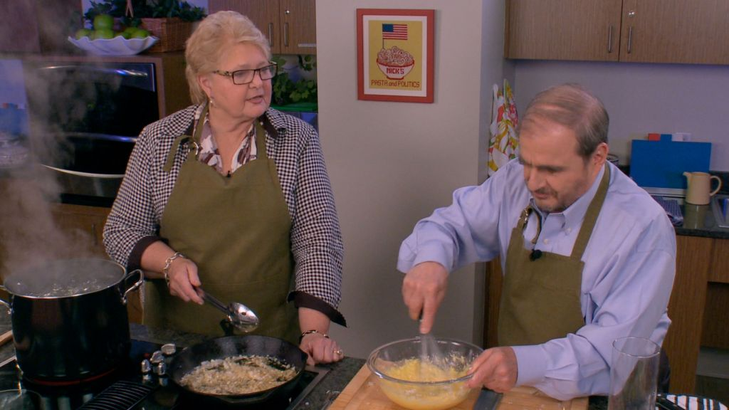 Senator Diane Allen cooks her personal recipe for Linguini Carbonara with Nick Acocella