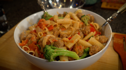 Rigatoni with Sausage and Broccoli in Cream Sauce