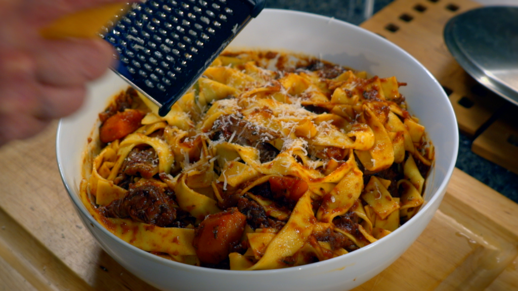 Pappardelle with Beef Ragu is prepared on Pasta & Politics with Nick Acocella.
