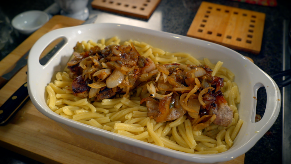 Sauteed pork chops with pasta, a family recipe on Pasta and Politics with Nick Acocella.