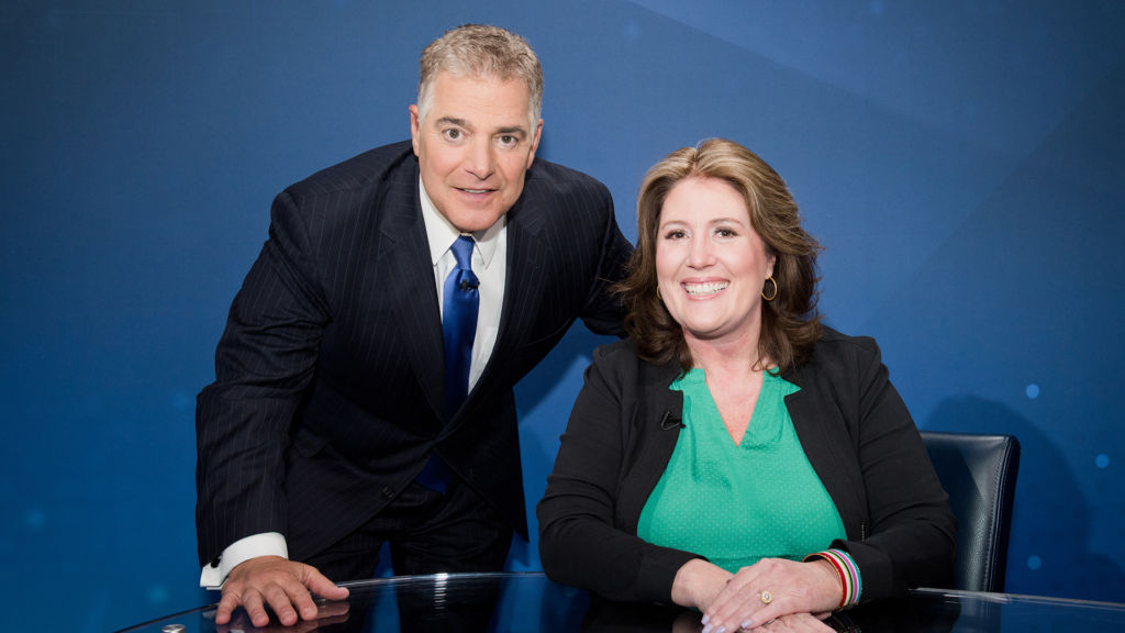 Steve Adubato and NJ Assemblywoman Holly Schepisi on the set of Think Tank with Steve Adubato, airing May 18, 2019.
