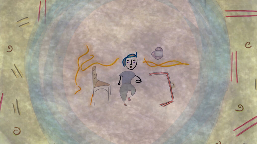 Drawing with pale watercolor and human figure, chair in center
